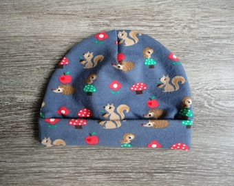 Baby hat with forest animals