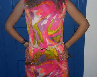60s Psychedelic Neon Dress