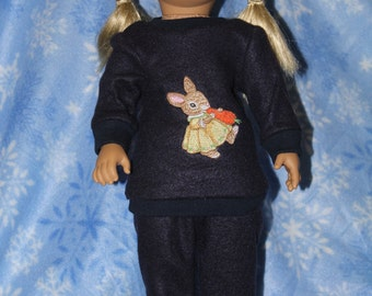 "Embroidered rabbit sweatsuit for 18"" doll"