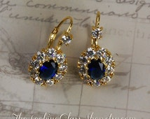 Kate Middleton Inspired Sapphire Crystal Earrings. Princess Diana Earrings. British Royal Family. Replikate. CopyKate. Duchess of Cambridge.