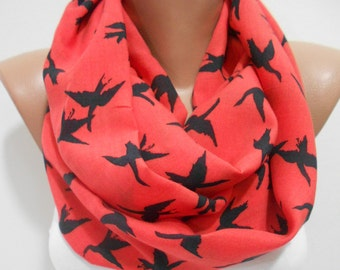 Bird Scarf Infinity Scarf Red Scarf Animal Scarf Winter Scarf Fashion Accessories Holiday Christmas Gift For Women For Her For Mom For Teens
