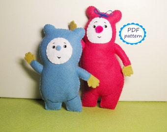 Billy BamBam baby tv DIY craft project PDF pattern felt animal toy sewing instruction tutorial handmade cute suffed bear plush gift for baby