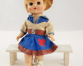 A Cowgirl Western Doll With Blue Sleep Eyes - 1970s Doll With Cowgirl Clothes - Cowgirl Hat and Boot
