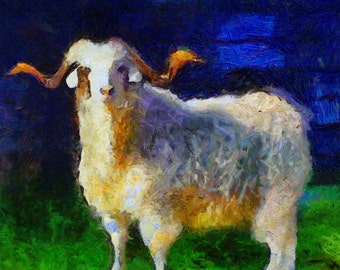Art Print -High Quality- Oil and Pastels Painting- Angora Goat Kid- choose your size