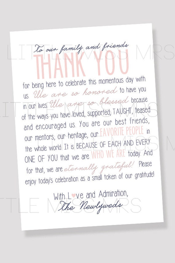 "Printable Table Notes ""To our family and friends..."" Reception thank you notes to place on tables // Pink & Navy"