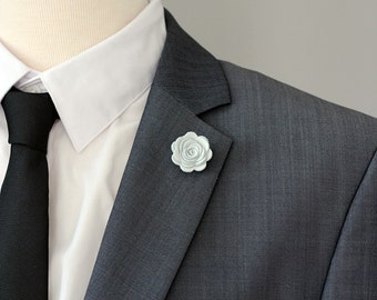 Combo pocket square and flower lapel pin mens lapel flower white pocket square combination with lapel flower boutonnierelapel flower pin rose boutonniere mightylinksfo
