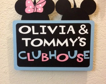 Baby Minnie and Mickey Mouse Birthday Clubhouse Sign/banner - Personalized