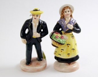 Vintage NAPCO Miniature People Figurine Pair Hand Painted Porcelain Yellow Apron