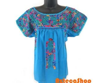San Antonio Mexican Embroidered Mexican Blouse - Aqua w/Multi-Embroidery