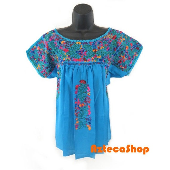 San antonio mexican embroidered blouse aqua by