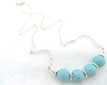 Southwestern Necklace Turquoise Silver Southwest Necklace Minimalist Necklace Turquoise Necklace Gemstone Gift For Her