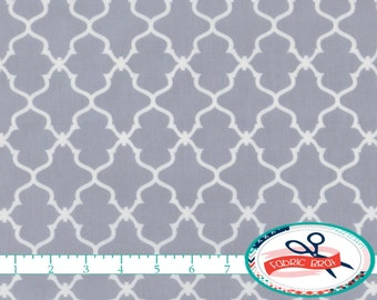 GRAY MOROCCAN Fabric by the Yard, Fat Quarter Gray Fabric Quatrefoil Fabric Quilting Fabric 100% Cotton Fabric Apparel Fabric Yardage a2-3