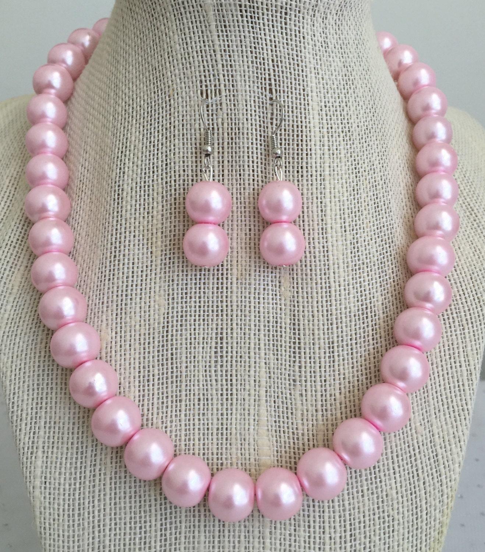 c56669bc0537f Custom Bridesmaid Gift Light Pink Bridal Jewelry Set Bridesmaid ...