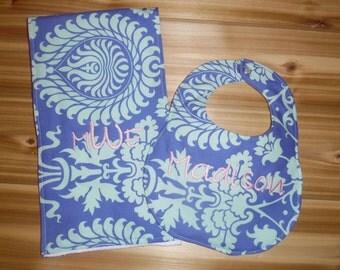 Bali Gate in Periwinkle   - Amy Butler Boutique Bib and Burp cloth set - Custom Monogram