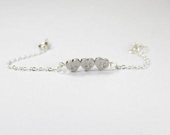 Custom date bracelet ,Three hearts bracelet,Wedding Date,Personalized Birth Date Bracelet, Anniversary Gift ,Keepsake Gift, Custom Date Gift