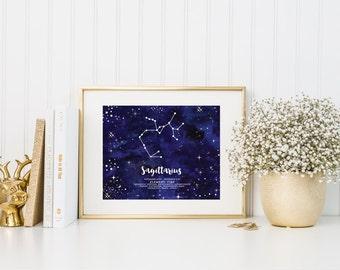 Sagittarius Wall Art-Printable Instant Download File-Zodiac Constellation Art Printable, Wall Art Printable, Printable Home Decor, Astrology