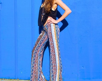 AZTEC TRIBAL STRIPE  flare leg gypsy hippie retro festival yoga fashion bell bottoms with fold waist optional