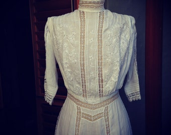 Antique Edwardian, white embroidered and lace cotton wedding dress gown