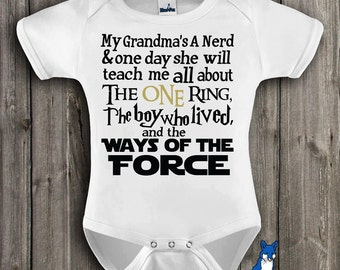 Funny baby, geekery baby, baby bodysuit, My Grandmas A Nerd, The One Ring, The Boy Who Lived, Ways of the Force, by BlueFoxApparel *251