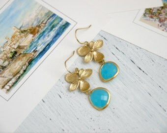 Blue Gold Orchid Earrings Blue Flower Gold Earrings Blue Drop Earrings Dangle Earrings Bridesmaid Earrings Bridesmaid Gift Bridal Earrings