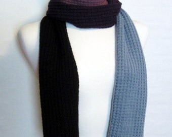 Hand Knit Color Block Scarf. Purple, Black, and Blue Extra Long Scarf. Ships Free in the USA