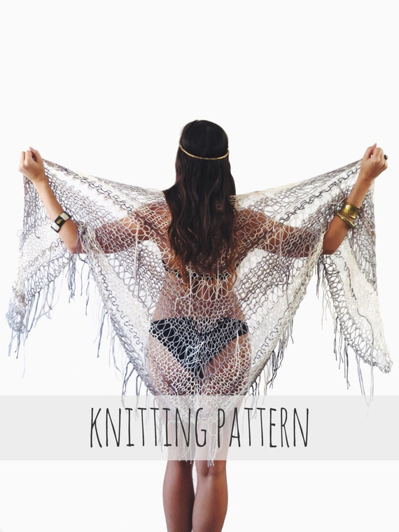 Knit Beach Cover Up Pattern : PATTERN for Knit Wrap Beach Cover Up Boho Triangle Poncho