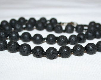 Lava stone 8mm beads. Black lava stone.