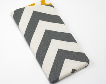 Sunglasses Case, Eyeglasses Case, Glasses Case in Grey Chevron Fabric