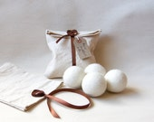 Felt Wool Dryer Balls - Set of 4 -  Large white eco friendly natural wool tumble dryer balls - unscented handmade
