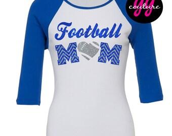 Glitter Football Mom Baseball-Style T-Shirt - Multiple Color Options Available