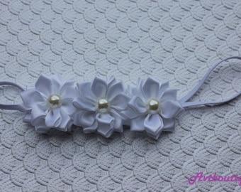 White baby headband  - newborn headband - infant headband - baby flower hedband - baby girl headbands - baby girl headband