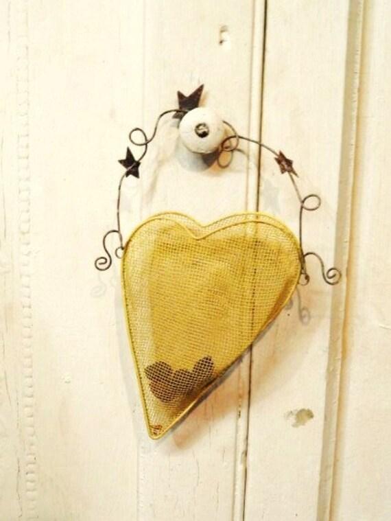 Decorative Wall Pockets Metal : Metal heart door wall pocket envelope decorative hanging