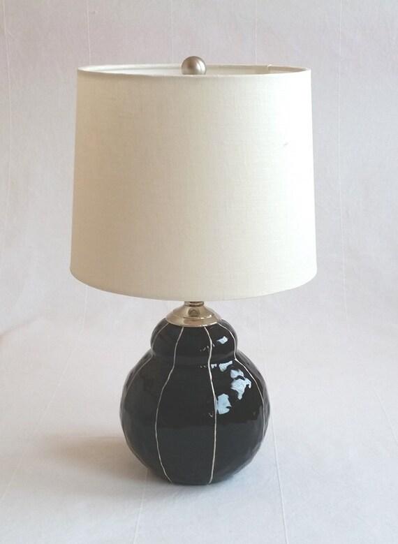 Small Black Ceramic Lamp Handmade Modern Bedside Lamp White