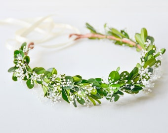 green flower crown, green wedding crown, floral wreath, leaf crown, leaf headband, green bridal wreath - GAIA