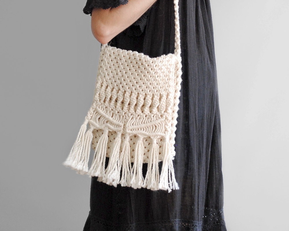 Crochet Fringe Bag : Macrame Fringe Bag // 70s Crochet Bag // Cross by WhiteLightShop