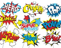Superhero Action Party Photo Booth Props or Superhero cake toppers - Printable - Tons of Fun!! Pop art