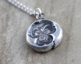 Pansy Flower Necklace Fine Silver Necklace Sterling Silver Chain Oxidized Silver Botanical Jewelry