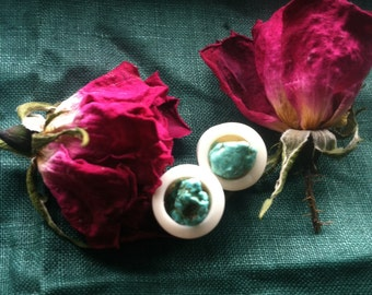 10 mm Genuine Turquoise Amethyst Bone Plugs 3/8 Handcarved Double Sided 2-in-1 Guages Tribal Ethnic