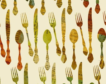 Knife Fork Spoon Fabric - Hot Little Dish by Christine Adolph - Quilting Treasures 23486 E  - Cream -  1/2 yard