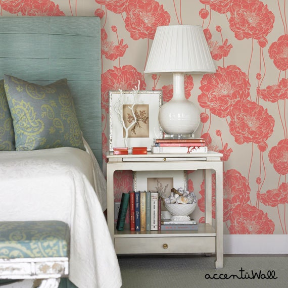 Removable wallpaper floral peony dark salmon peel by Floral peel and stick wallpaper