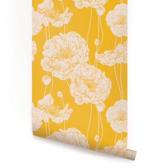 Peony Yellow Peel & Stick Fabric Wallpaper Repositionable