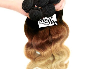 Wildfire Ombre Weft Hair Extensions / Luxury Quality Russian 100% Human Hair / European Balayage Hair Weave