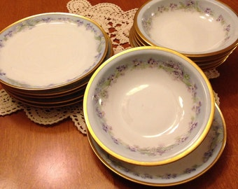 Beautiful Set of Six Handpainted Berry Bowls and Plates by Rosenthal