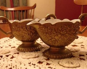 Pretty Vintage Brass and Enamel Creamer and Sugar Set