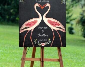 flamingo welcome sign, flamingo wedding sign, welcome wedding sign, digital wedding sign, printable welcome sign, chalkboard wedding sign
