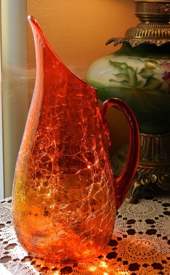 Blenko Amberina Crackle Blown Glass Winslow Anderson Large