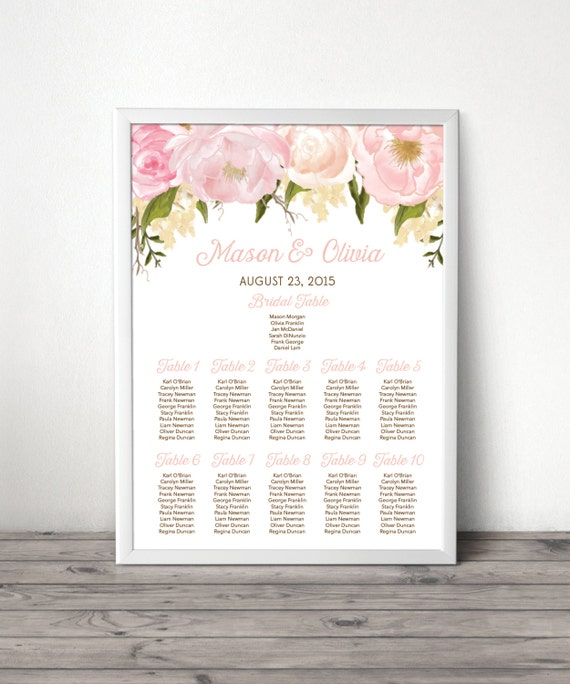 Table Arrangement Board Seating Sign Wedding Seating Chart