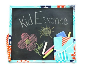 Blue Kid's Chalkboard - Kid's Travel Chalkboard - Kid's Chalkboard Mat - Kid's Chalkboard with Flags - Travel Toy - Homeschool Supplies
