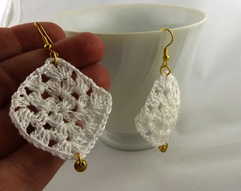 Granny Square Earrings in White & Gold - Handmade- Crochet