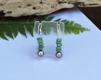 Turquoise and freshwater pearl earrings Silver earrings Womens jewelry Gemstone jewelry Dangle earrings Statement jewelry Formal wear Boho